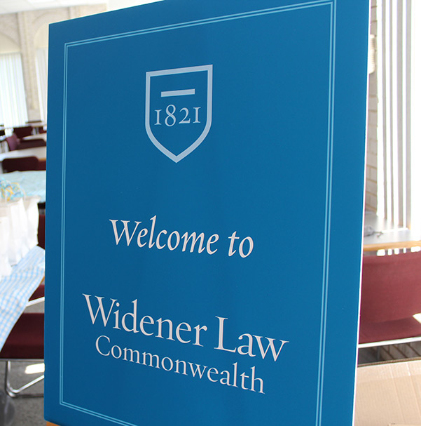photo of 'Welcome to Widener Law Commonwealth' sign
