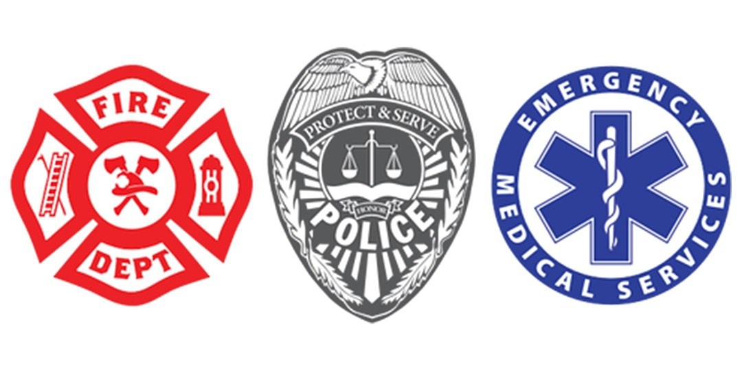Logos of fire, police and emergency services