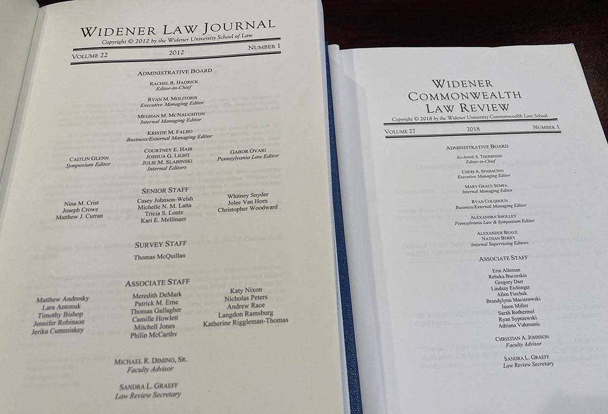 photo of two law review issues