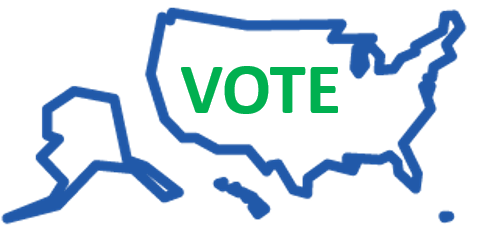 outline of United States with the word 'vote' inside