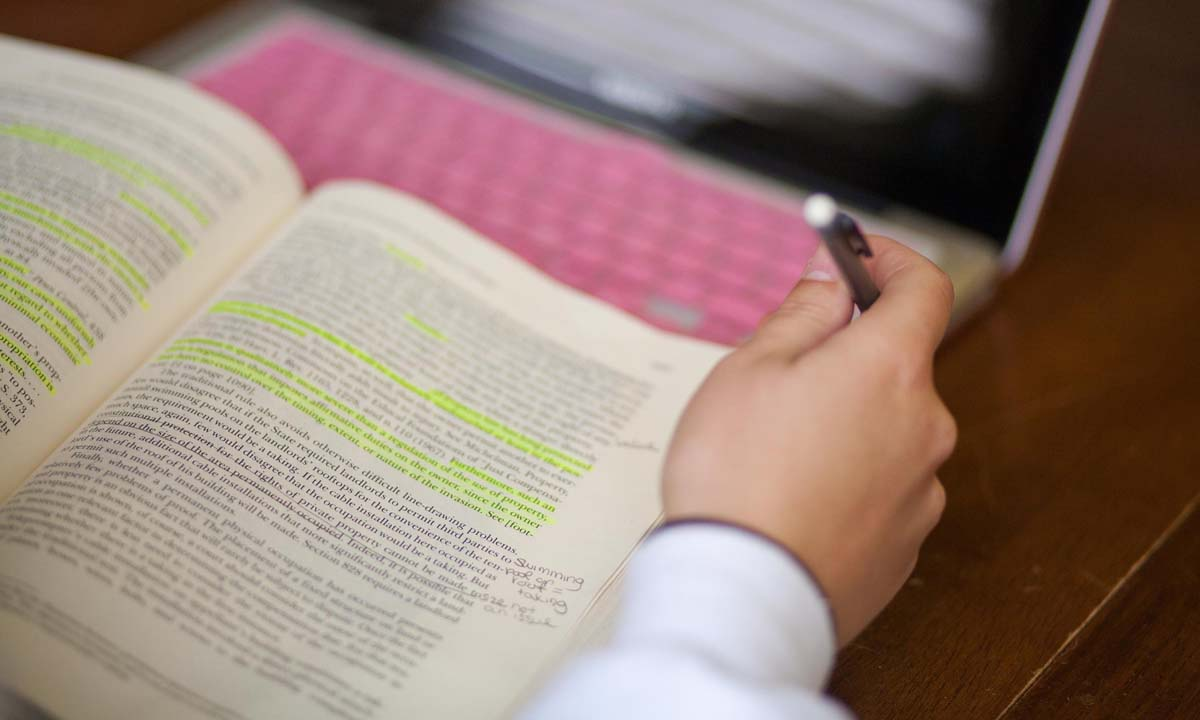 Highlighting a passages in a book