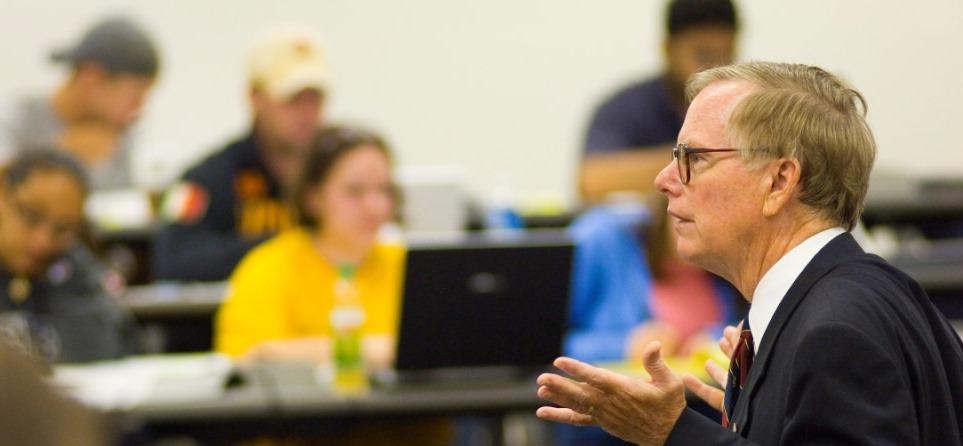 Professor teaching a class