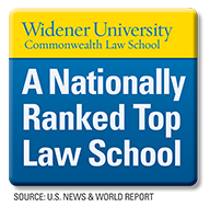 Logo indicating Widener Law Commonwealth is a nationally ranked law school according to US News & World Report.