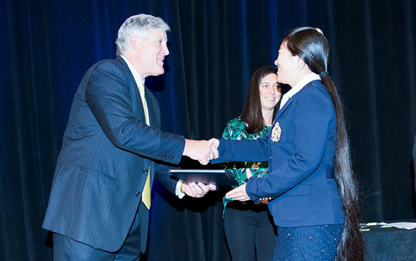 Student accepting an award