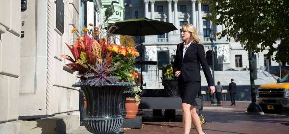 Student working in downtown Harrisburg