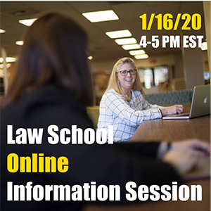 Photo promoting Law School Online Information Session on 1/16/20 from 4-5 pm EST