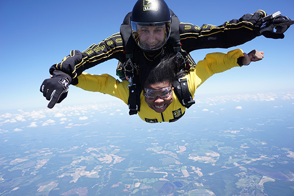 Photo of Waleisha skydiving